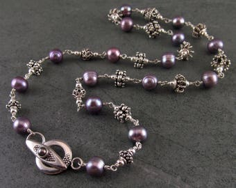 Purple pearl and silver art bead necklace-handmade sterling silver jewelry-OOAK