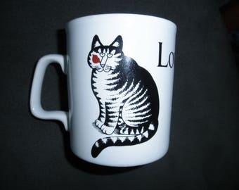 Vintage 70's B Kliban Love a cat.  Mug, Original Kilncraft