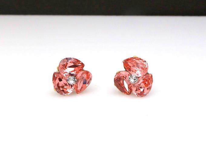 bridal earrings wedding jewelry bridesmaid gift triple teardrop stud post gold earrings with swarovski rose peach fancy rhinestone crystal