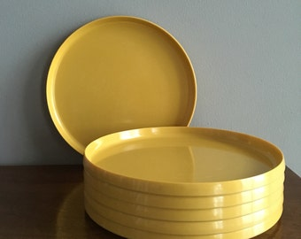 vintage oblique yellow round stacking trays set of 6