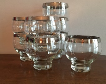 mid century modern platinum band whiskey dessert glass set of 4
