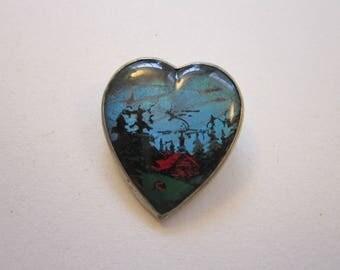 vintage butterfly wing brooch - blue morphos - heart shaped brooch with scene