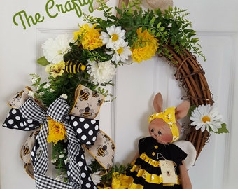 Bumblebee Bunny Wreath ~ Grapevine Wreath ~  Front Door Decor ~ Spring wreath ~ Easter Wreath 20% OFF COUPON CODE Spring2017