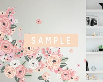 SAMPLE ** Graphic Flower Clusters in Faded Pink