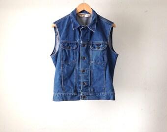 vintage SEDGEFIELD men's DISTRESSED blue jean DENIM classic indigo light blue cotton jacket vest