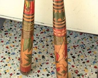 Two Vintage Souvenir of Mexico Folk Art Hand Carved Baseball Bats