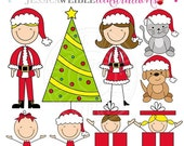 ON SALE Christmas Family Stick Figures Cute Digital Clipart for Card Design, Scrapbooking, and Web Design