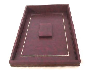 Vintage Faux Leather Desk Paper Tray with Lid in Burgundy (J2)