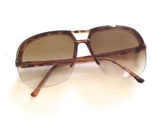 1980s Rimless Sunglasses, Vintage Nonprescription Glasses Have Faux Tortoiseshell Frames