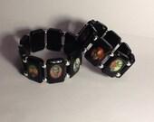 Krampus Stretchy Tile Bracelet Black and Red Krampuskarten 2 Size Options
