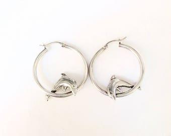 Dolphins hoops Earrings Sterling silver .925 vintage 80's
