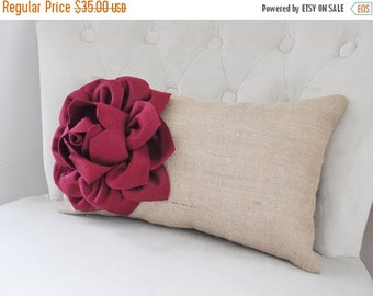 SALE Ruby Red Dahlia on Burlap Kitchen Dining Chair Pillows 9 x 16 Burlap Home Decor, Decorative Lumbar Pillow