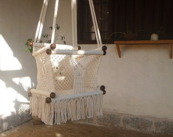 """BABY SWING W/FRINGE 14.7""""- Kids-100% Cottom Thread in Ecru/Cream Color- Custom Colors and Sizes available!Ships from Nicaragua-"""
