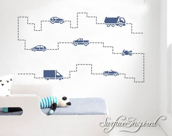 Wall Decals Cars and Roads Wall Decals Boys Large Stickers Vinyl Decal Stickers Choose Any Color You Want