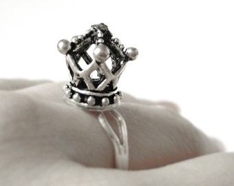 Queen Crown Ring - Silver Crown Ring - The White Queen Crown Ring - Crown Jewelry