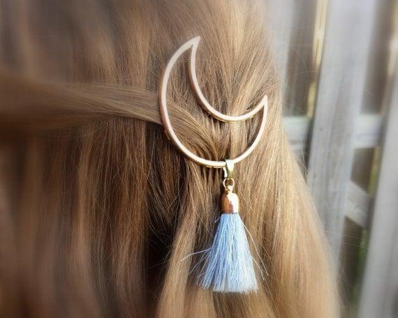 Crescent Moon Tassel Hair Clip