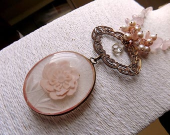 Victorian age style necklace reclaimed with big floral pendant, pink quartz, vintage pearls, rhinestones, OOAK