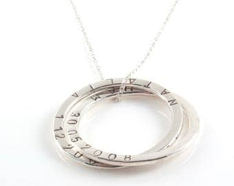 Personalised  Large Russian Ring Necklace , 5 Rings Necklace with Hand stamped  Names - Sterling Silver, Mother's Gifts