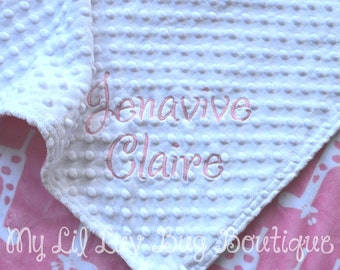 Personalized baby blanket-giraffe baby blanket white and paris pink- 30x35 cat stroller blanket
