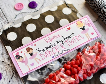 Valentine's Day Treat Bag Topper / Personalized  Bag Toppers / Ballet Treat Bag Toppers / Kid's Valentine Exchange / Ballerina Valentine