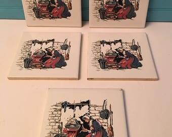 Colonial Women Hearth Tiles/ 5 Tiles