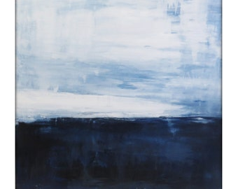 Large Abstract Painting on Canvas Modern Acrylic Skyline- 36x36-Navy, Blue, White