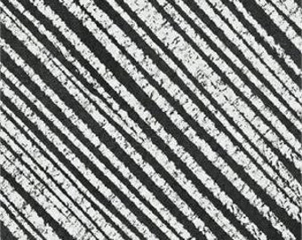 Born to Quilt from Windham Fabrics - Full or Half Yard Modern Chalkboard Black and White Diagonal Stripe