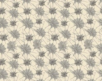 Trick or Treat from Penny Rose Fabrics - Full or Half Yard Black spider Webs on Cream - Halloween Webs