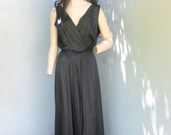 Vintage 1960s Jer Marai, Lounge Wear, Jumpsuit, Playsuit, Sexy V Neck and Back, Black Palazzo Pants