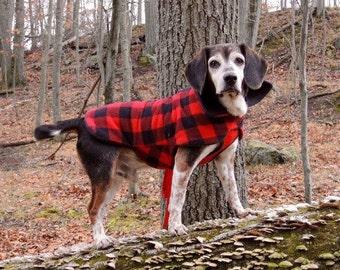 Buffalo Check Fleece Dog Coat, Dog Jacket, Dog Jackets, pet clothing
