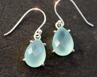 Sea Frost - Faceted Aqua Blue Chalcedony Sterling Silver Earrings
