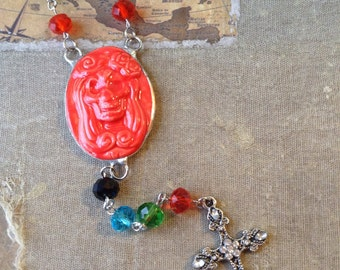Day Of The Dead Rosary Style Cameo Necklace