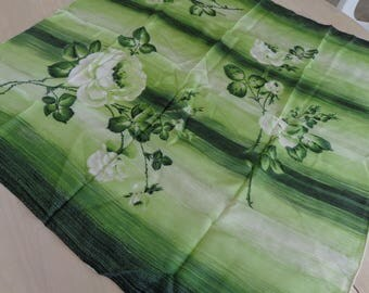 Scarf. Lovely green and white Scarf Roses 31 x 31 inches  great condition