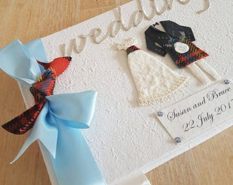 Personalized Scottish Wedding Guest Book - Fabric Tartan (supplied by customer)