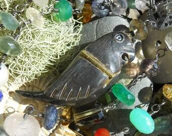 Pretty Bird       Antique French Horn Bird Locket Gemstone Chain Necklace