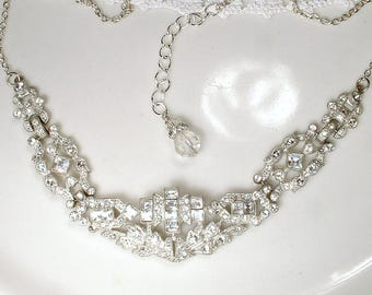 ANTIQUE Great Gatsby French Paste Rhinestone Bridal Necklace, 1920's Art Deco Crystal Silver Statement, 20s Flapper Vintage Wedding Jewelry