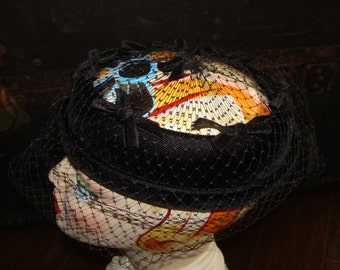 Round Halo Black Velvet Ring Hat with Black Netting and Velvet Bows 2 pc comes with Hat Pin 22 Mid Century 50-60's Retro Housewife