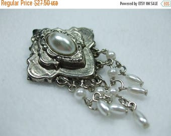 """SALE 50% OFF Vintage Silvertone and pearl dangle brooch 2"""""""
