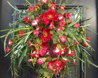 Spring Wreath, Poppy Wreath, Wild Spring Door Wreath, Summer Wreaths, Floral Door Wreath, Red Wreath