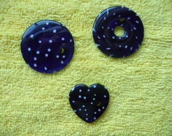 Focal, Millefiori glass multicolored, Package of 3.  Stars with the Moon.