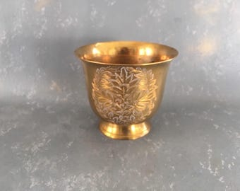 Vintage Brass Planter, container, etched, engraved