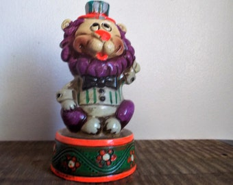 Vintage Pottery Purple Circus Lion Savings Bank