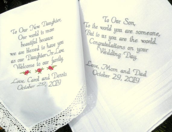 Father Daughter Wedding Gifts: Wedding Gifts Embroidered Wedding Hankercheifs For Daughter