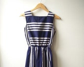 CLEARANCE SALE Vintage 1980s does the 1940s Blue and White Nautical Sailor Stripe Pinafore Dress size small medium