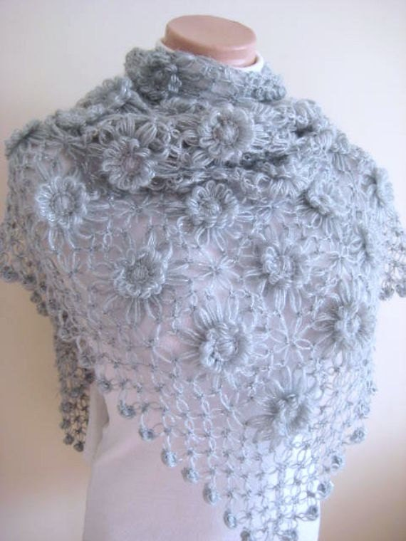 Gray Fashion - Floral Grey Shawl - Shiny Flowers, Daisies Triangle Scarf - Gift for Her - Ready to Ship