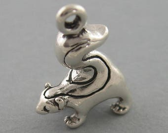 Sterling Silver 925 Charm Pendant 3D SKUNK Animal 3135