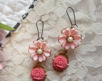 In the pink. Vintage flower shabby chic dangle earrings