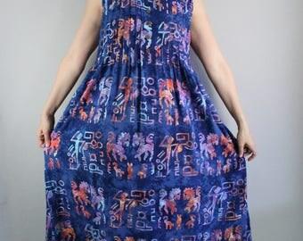 Batik Summer Dress, Vintage 90s Womens Royal Blue Tribal Tie Dye Sleeveless Summer Dress, Ethnic Festival Aztec, Hippie Dress, Size Large