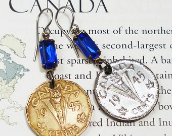 Canada, Vintage Coin Earrings --- Victory Nickels --- Mixed Metals - 1940s - Old Money - Travel - One of a Kind - OOAK - World History