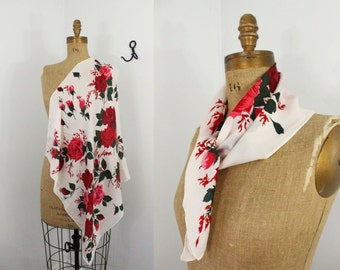 60s scarf - rose scarf - 1960s accessories - vintage floral scarf - rose accessories